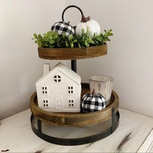 Farmhouse 2 tier wood & metal decorative stand